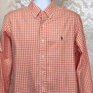 Men's Ralph Lauren Custom Orange Gingham Shirt